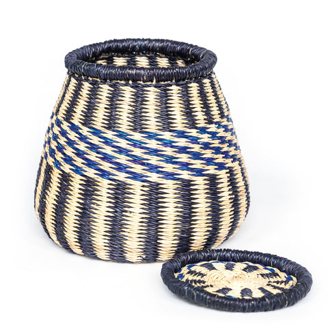 Bolga Pot Basket with a lid S - Aloko
