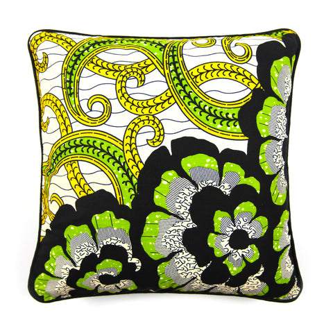 African Print Cushion - BLACK FLOWERS