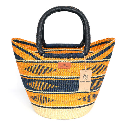 Bolga Shopping Basket L - Farah - Leather handles