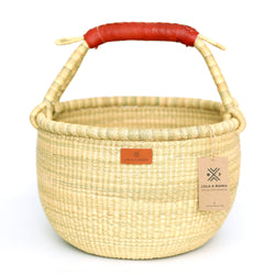 Round Bolga Basket L - Natural - Leather Handle