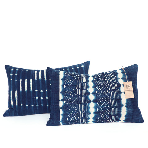 Sankarani - Oblong Indigo Cushion