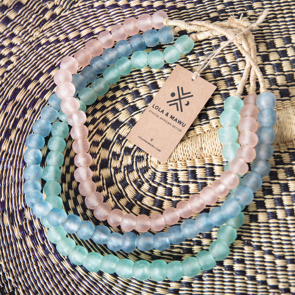 Fulani Blue - Recycled Glass Beads L