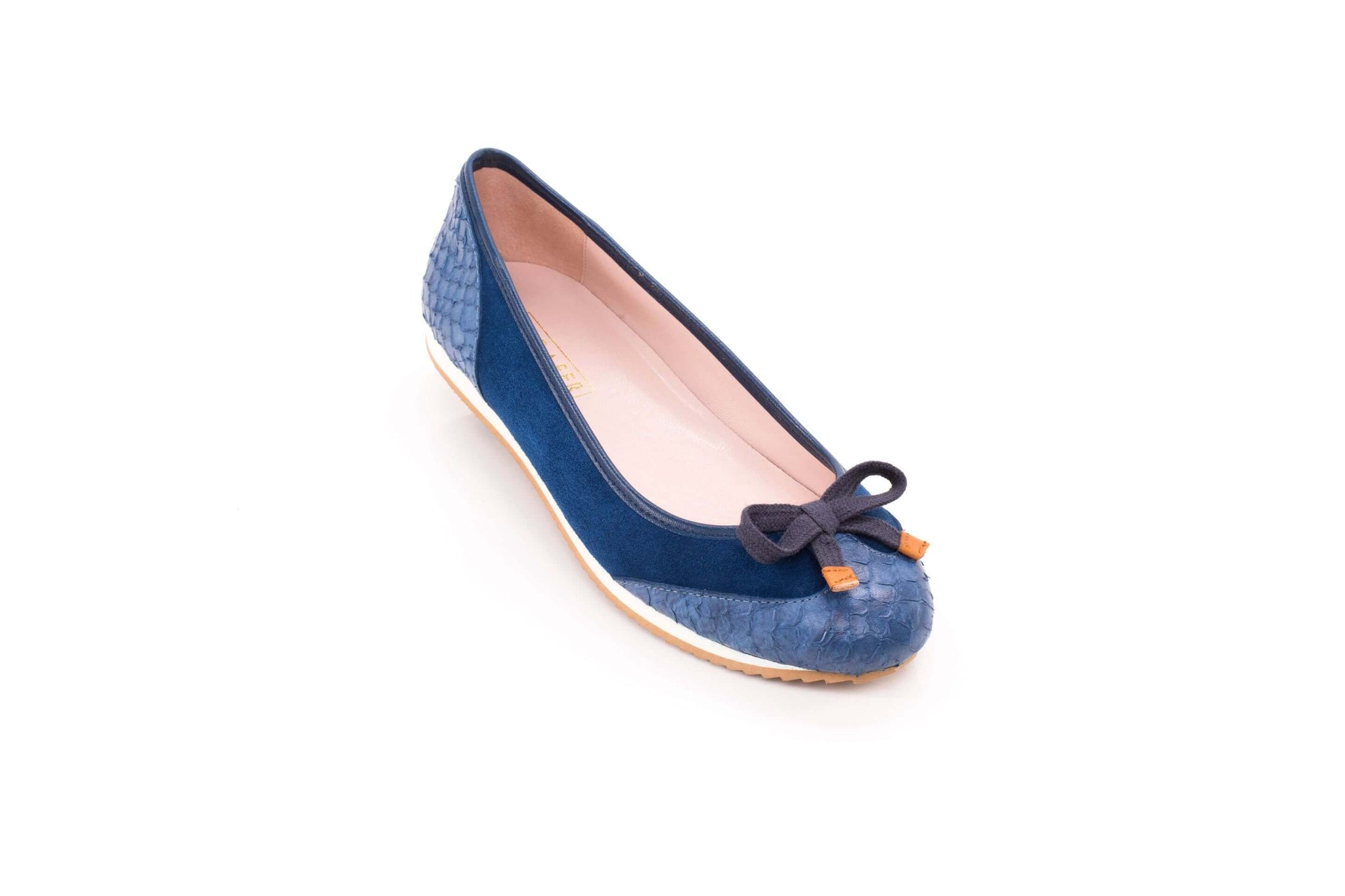 Blue croc sneakerpump by Sloafer - the elegance and simplicity of a ballet pump, the comfort and support of a sneaker.
