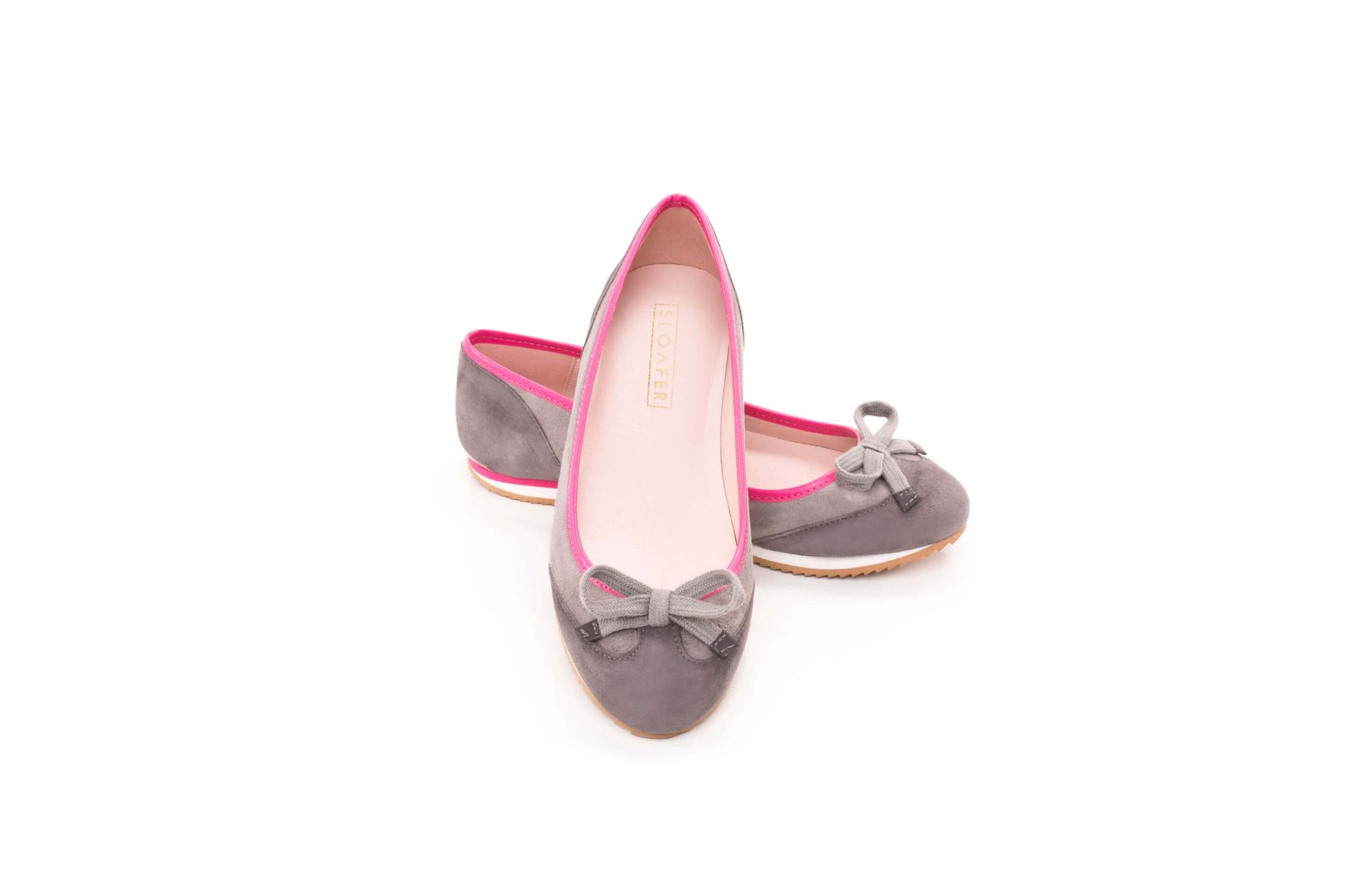 Grey and pink sneakerpump by Sloafer - the elegance and simplicity of a ballet pump, the comfort and support of a sneaker.