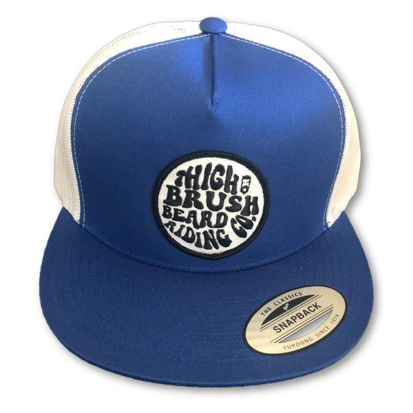 THIGHBRUSH® BEARD RIDING COMPANY Flat Bill Trucker Snapback Hat in Blue and White