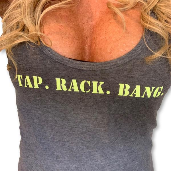 "NEW DROP and SUPER HOT! THIGHBRUSH® TACTICAL ""Tap. Rack. Bang."" - Women's Tank Top"