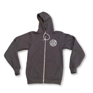 NEW! THIGHBRUSH® BEARD RIDING COMPANY Unisex Zipper Hoodie in Charcoal Grey