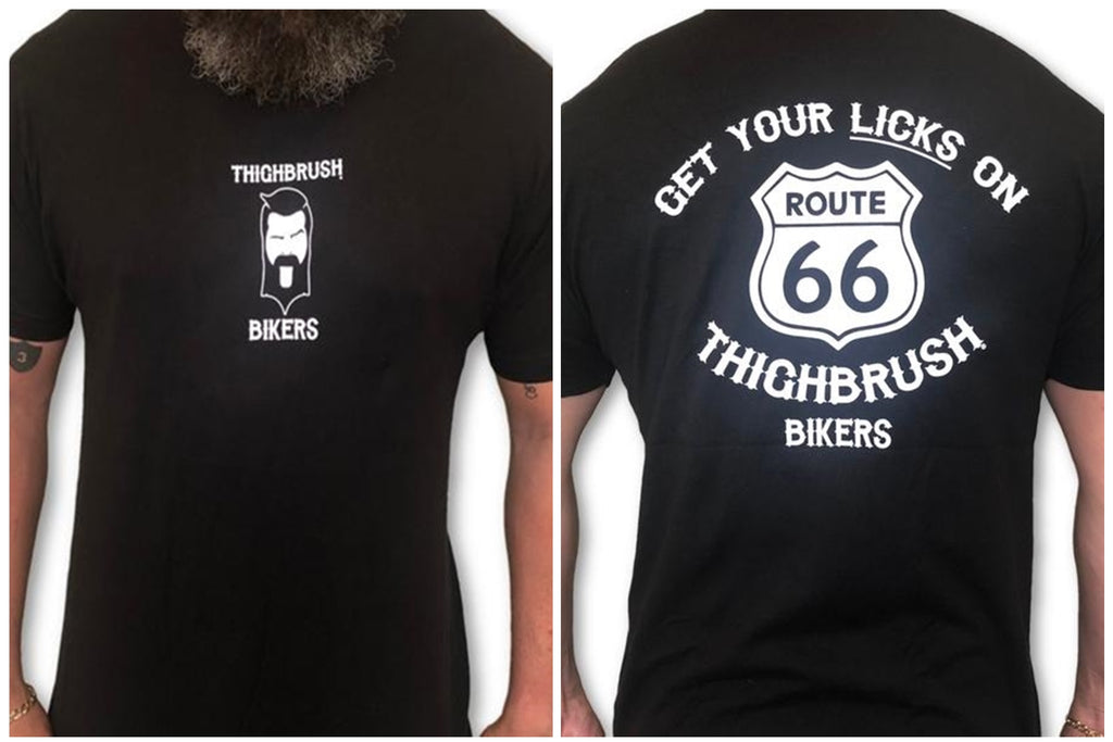 "THIGHBRUSH® BIKERS ""Get Your LICKS on Route 66"" Men's T-Shirt - $25.00"