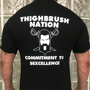 "THIGHBRUSH NATION ""Commitment to Sexcellence"" - Men's T-Shirt - Black and White"