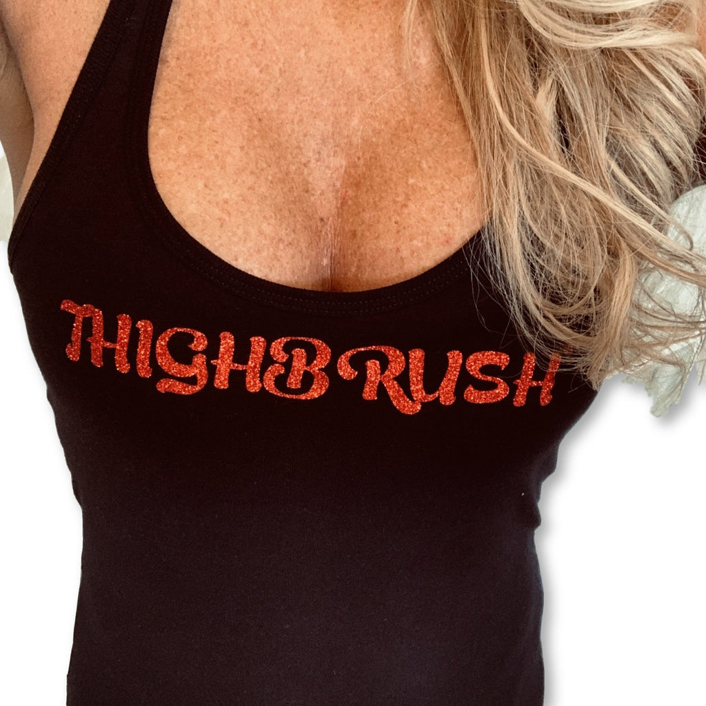 "Brand New & Red Hot!  THIGHBRUSH® Women's ""Glitter Tank"" in Black with Red Glitter"