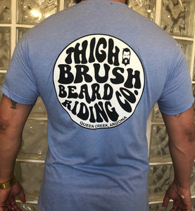 "THIGHBRUSH ""Beard Riding Company"" Men's Logo T-Shirt in Light Blue"