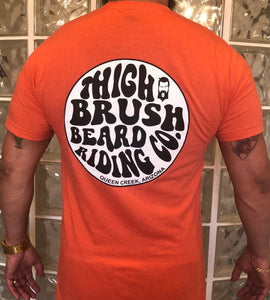 "THIGHBRUSH ""Beard Riding Company"" Men's Logo T-Shirt - Tangerine"