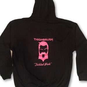 "Brand New THIGHBRUSH ""Tickled Pink"" Hoodie Now Available in Black!"