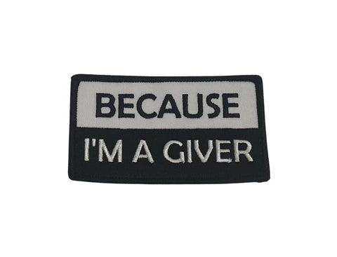 """THIGHBRUSH® - """"BECAUSE I'M A GIVER"""" Rectangular Patch - Black and White"""
