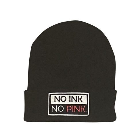 THIGHBRUSH® NO INK NO PINK- Cuffed Beanies - Black with Patch