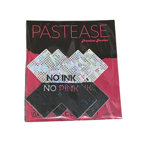 """Pastease® Premium Pasties - THIGHBRUSH® """"NO INK NO PINK""""- Cross in Black and White Shimmer"""