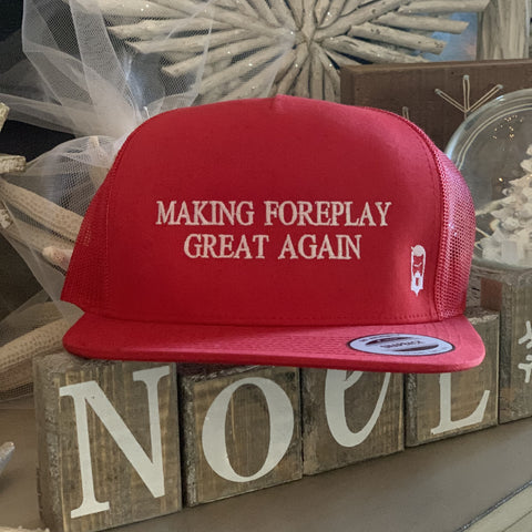 "THIGHBRUSH® ""MAKING FOREPLAY GREAT AGAIN""  - SNAPBACK FLAT BILL HAT IN RED"
