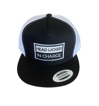 """THIGHBRUSH® """"HEAD LICKER IN CHARGE"""" - Trucker Snapback Hat  - Black and White - Flat Bill"""