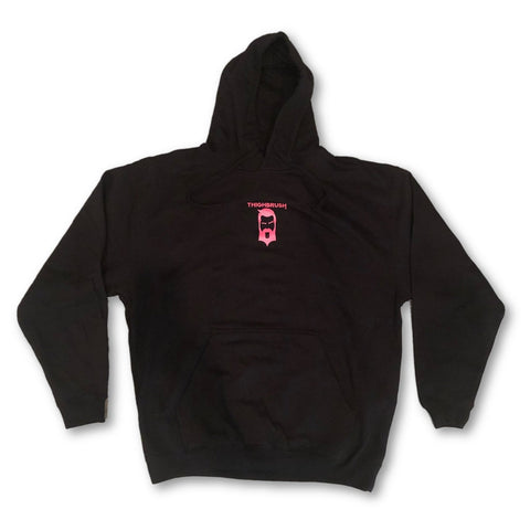 "THIGHBRUSH® - ""Tickled Pink"" - Unisex Hooded Sweatshirt - Black and Pink"