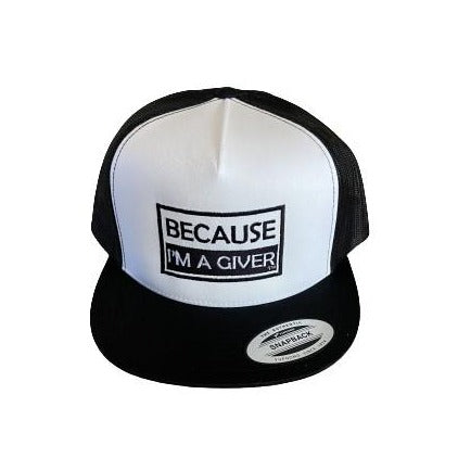 """THIGHBRUSH® """"BECAUSE I'M A GIVER"""" - Trucker Snapback Hat - White and Black - Flat Bill"""