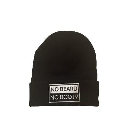 "THIGHBRUSH® ""NO BEARD, NO BOOTY"" - Cuffed Beanies - Black with Patch"