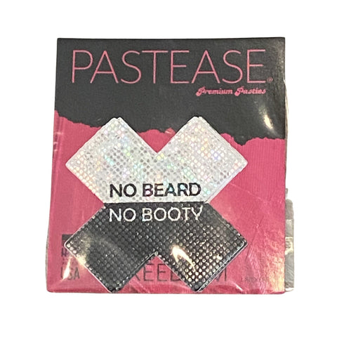 """Pastease® Premium Pasties - THIGHBRUSH® """"NO BEARD NO BOOTY""""- Cross in Black and White Shimmer"""