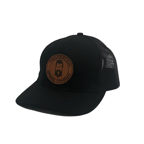THIGHBRUSH® APPAREL COMPANY - Snapback Hat with Leather Patch - Black