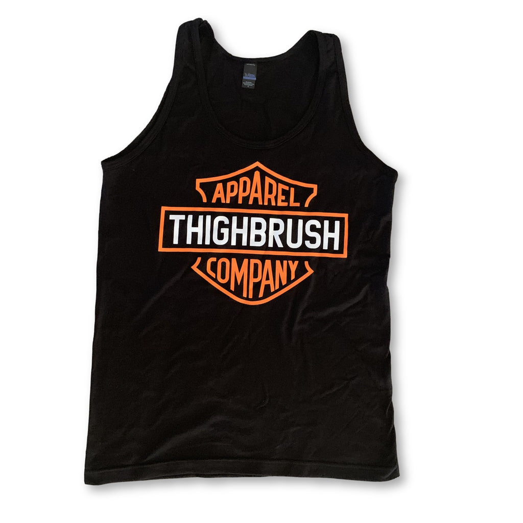 "THIGHBRUSH® BIKERS - ""THIGHBRUSH APPAREL COMPANY"" Men's Tank Top - Black and Orange - thighbrush"