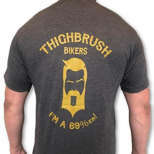 "THIGHBRUSH BIKERS - ""I'm a 69 Percenter"" - Men's T-Shirt - Heather Charcoal and Gold"