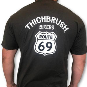"THIGHBRUSH BIKERS - ""ROUTE 69"" - Men's T-Shirt - Charcoal Grey and White"