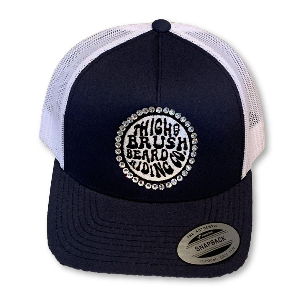 "THIGHBRUSH® BEARD RIDING COMPANY - ""Bling"" Trucker Snapback Hat - Navy Blue"