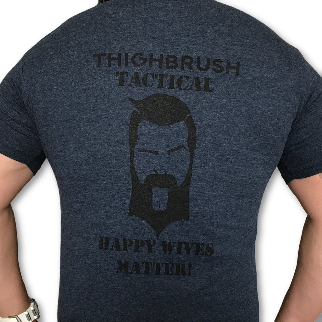 THIGHBRUSH TACTICAL - Happy Wives Matter - Men's T-Shirt - Heathered Navy and Black - thighbrush