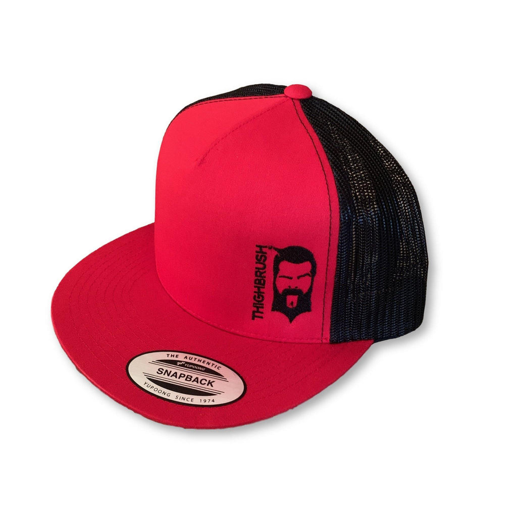 THIGHBRUSH® - Trucker Snapback Hat - Red and Black - Flat Bill - thighbrush