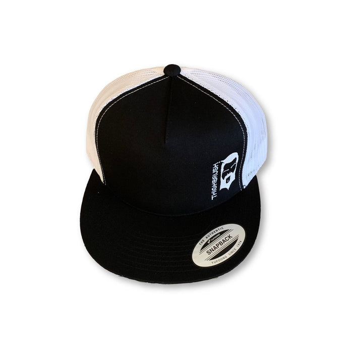 THIGHBRUSH - Trucker Snapback Hat - Black and White - Flat Bill - THIGHBRUSH®