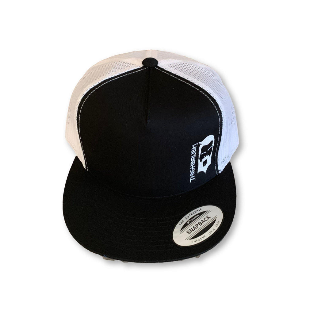 THIGHBRUSH® - Trucker Snapback Hat - Black and White - Flat Bill - thighbrush