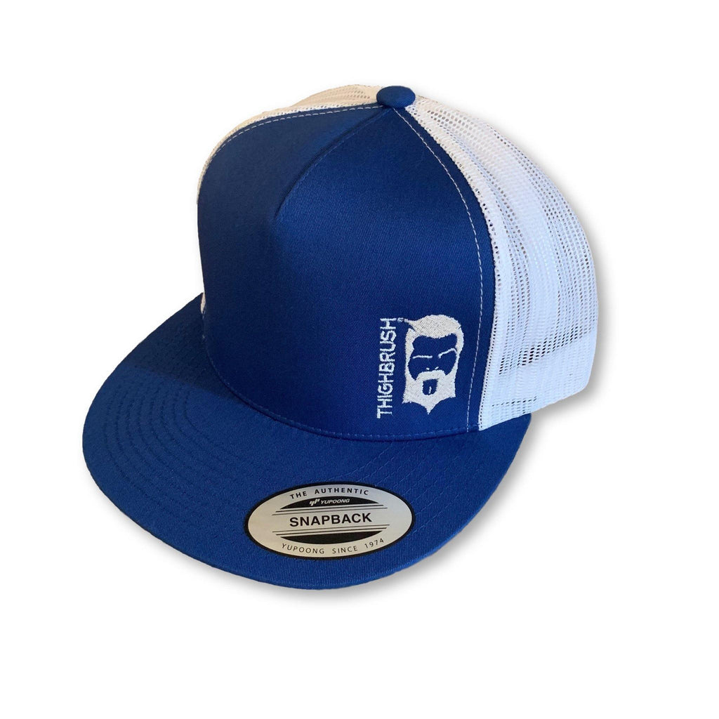 THIGHBRUSH® - Trucker Snapback Hat - Blue and White - Flat Bill - thighbrush