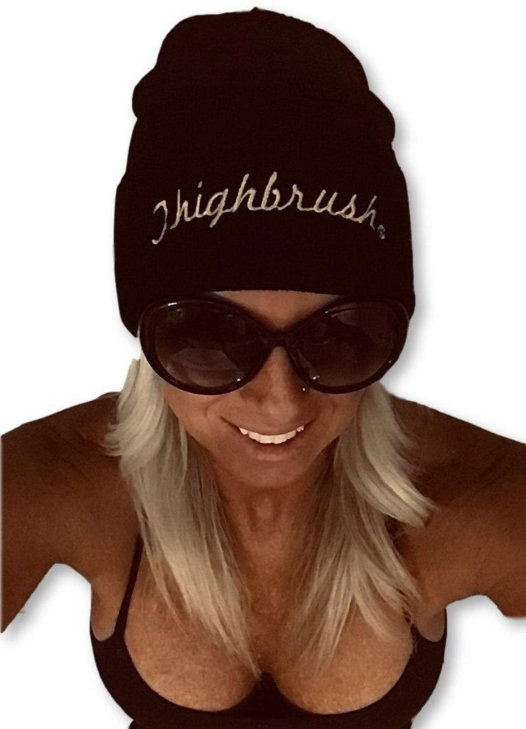 "THIGHBRUSH® Cuffed Beanies - ""THIGHBRUSH®"" Embroidered on Front - Black with Gold"