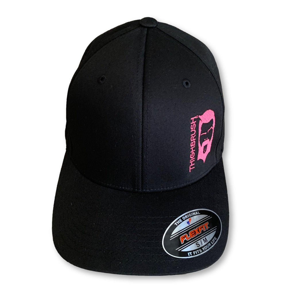 "THIGHBRUSH® ""NO BEARD, NO BOOTY"" - FlexFit Hat - Black and Pink - thighbrush"