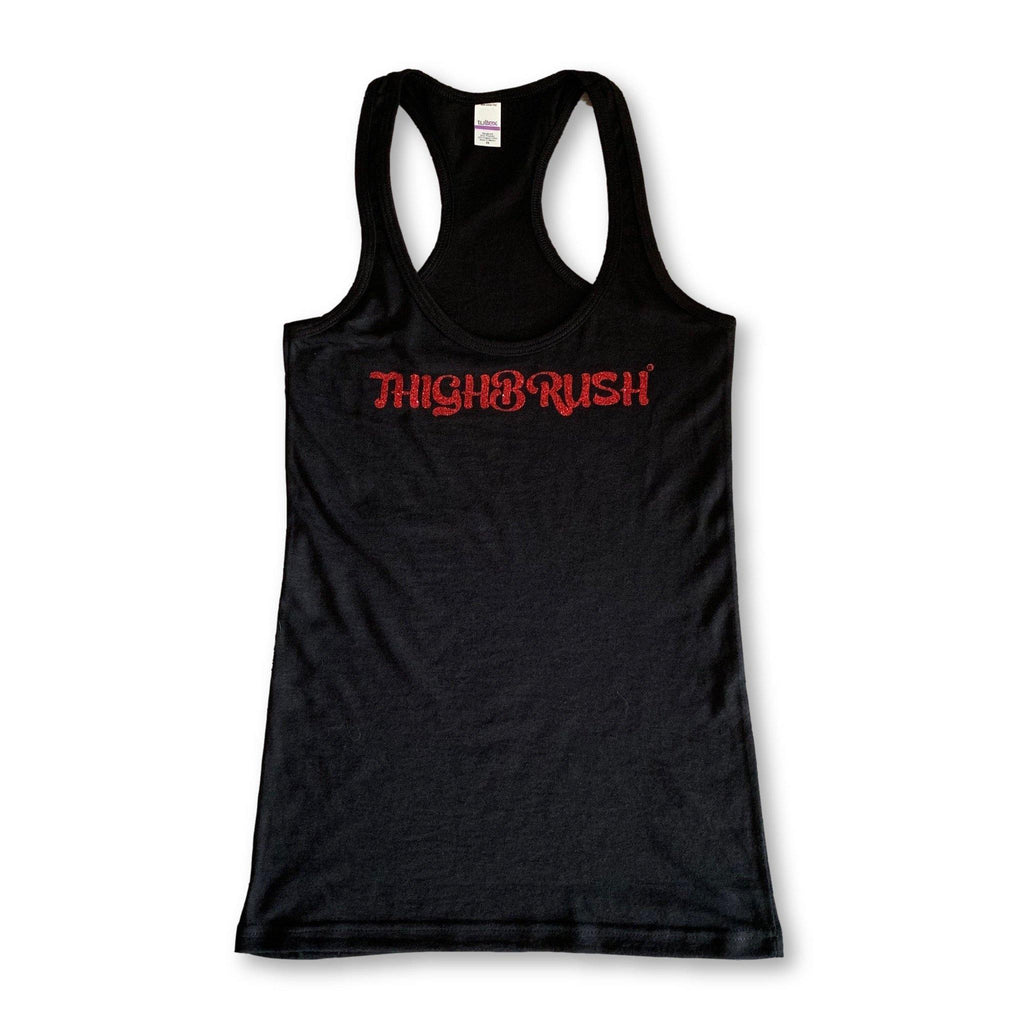 "THIGHBRUSH® - ""THIGHBRUSH"" - Women's Tank Top in Black with Red Glitter - thighbrush"