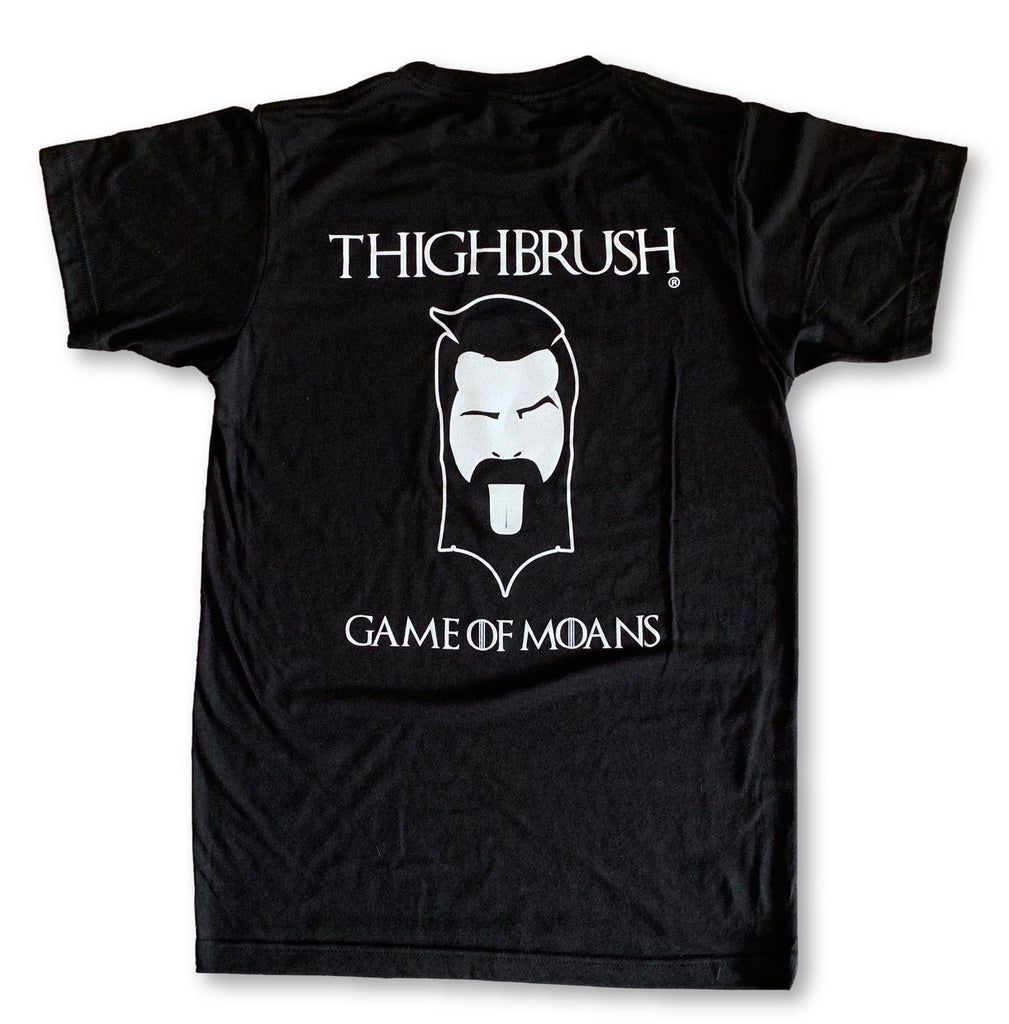 "LIMITED EDITION - THIGHBRUSH® - ""GAME OF MOANS"" - Men's T-Shirt - Black with White - thighbrush"