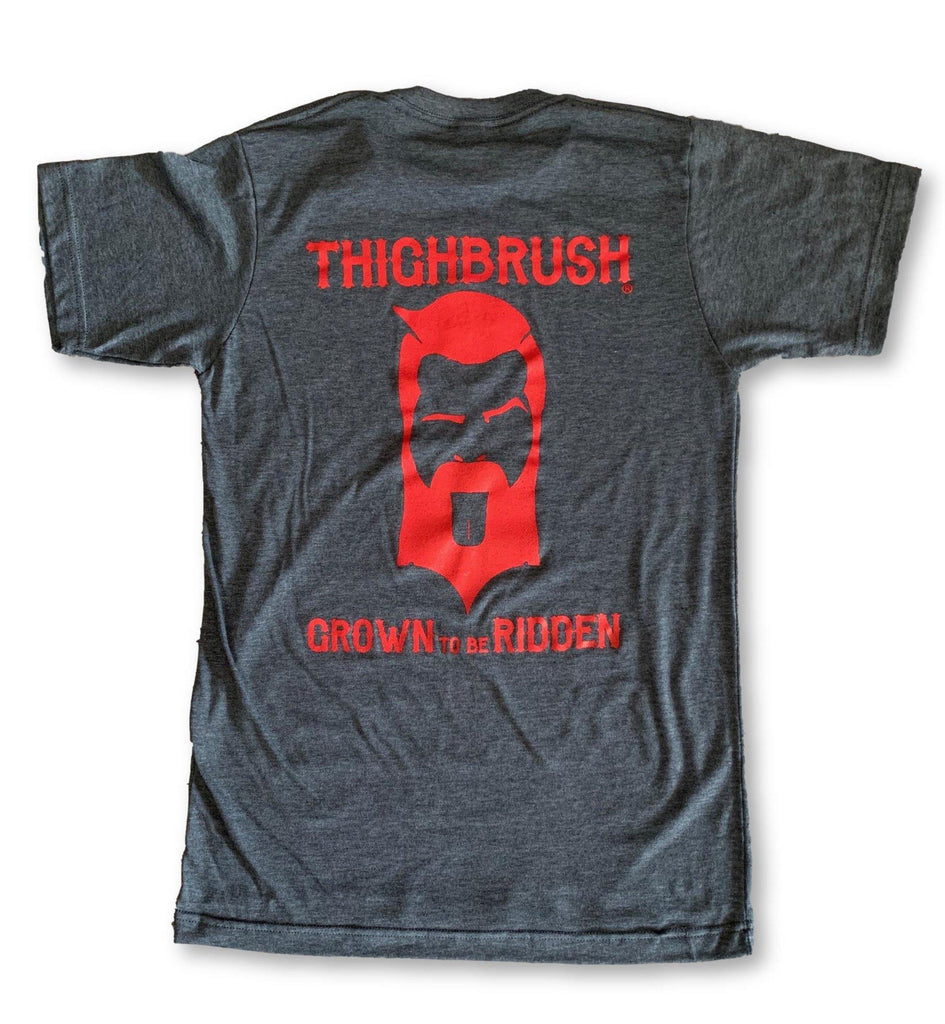 "THIGHBRUSH® BIKERS - ""Grown to be Ridden"" - Men's T-Shirt - Charcoal Grey - thighbrush"