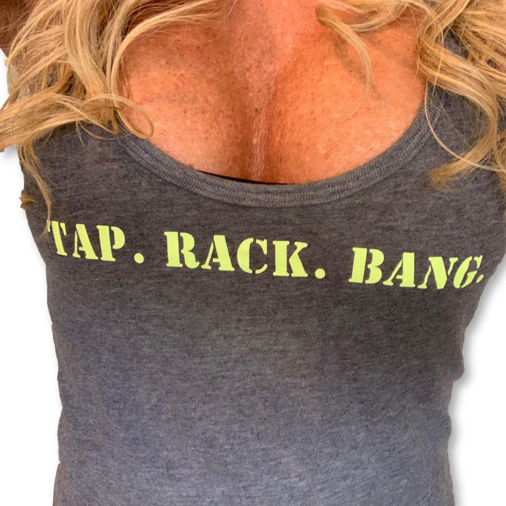 "THIGHBRUSH® TACTICAL - ""Tap. Rack. Bang."" - Women's Tank Top - Charcoal with Yellow Glitter - thighbrush"