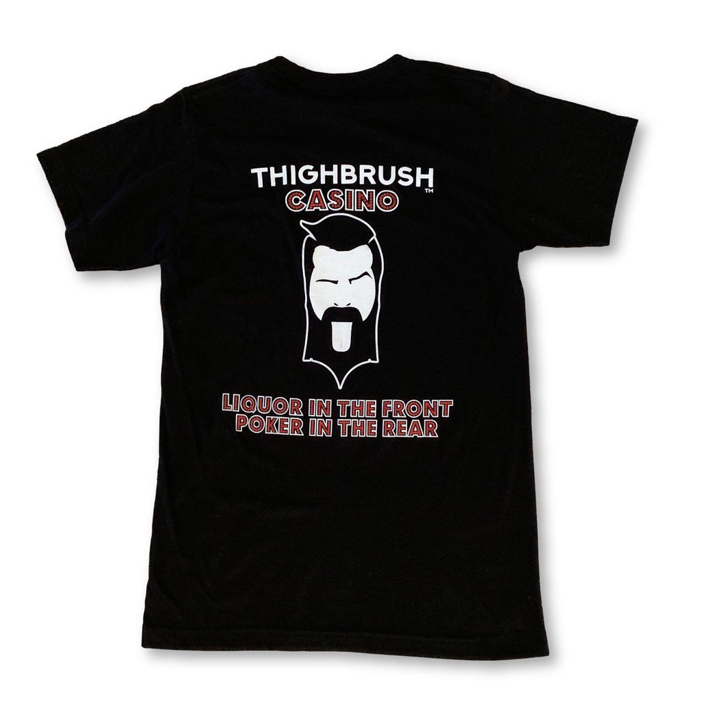 LIMITED EDITION - THIGHBRUSH® CASINO - Liquor in the Front, Poker in the Rear - Men's T-Shirt - Black with Red and White - thighbrush