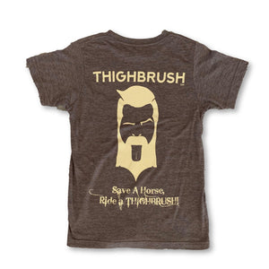 "THIGHBRUSH - ""Save a Horse, Ride a THIGHBRUSH!"" - Men's T-Shirt - Heather Brown and Sand - thighbrush"