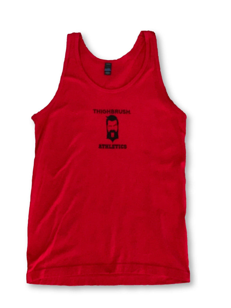 "THIGHBRUSH® ATHLETICS - ""PRACTICE SAFE SETS"" - MEN'S TANK TOP - RED - thighbrush"