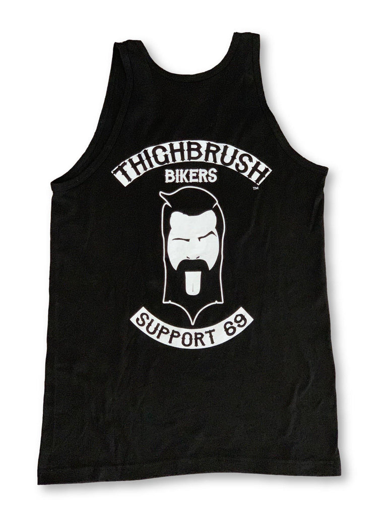 "THIGHBRUSH® BIKERS - ""SUPPORT 69"" - Men's Tank Top - Black and White - thighbrush"