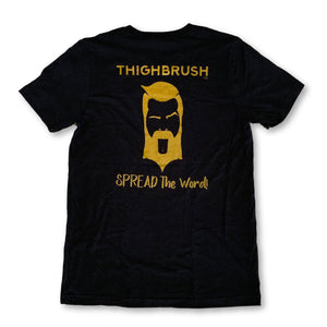 "THIGHBRUSH® - ""SPREAD the Word"" - Men's T-Shirt - Black and Gold - thighbrush"