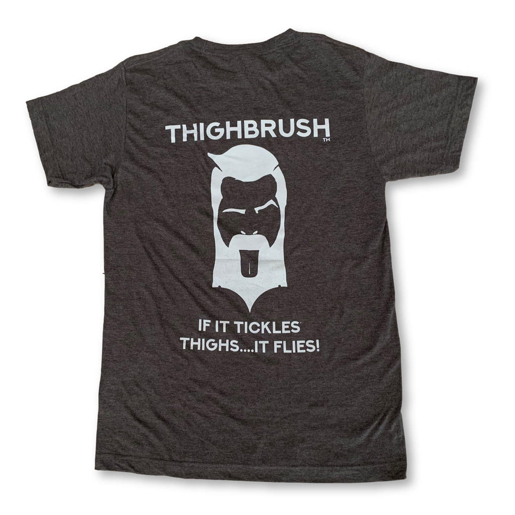 "THIGHBRUSH® - ""If it Tickles Thighs....It Flies!"" - Men's T-Shirt - Heather Charcoal and Light Grey - thighbrush"