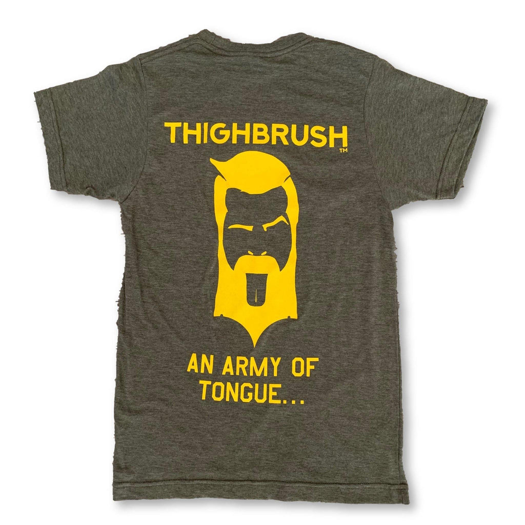 "THIGHBRUSH® TACTICAL -  ARMED FORCES COLLECTION - ""An Army of Tongue"" Men's T-Shirt - Military Green and Gold - thighbrush"