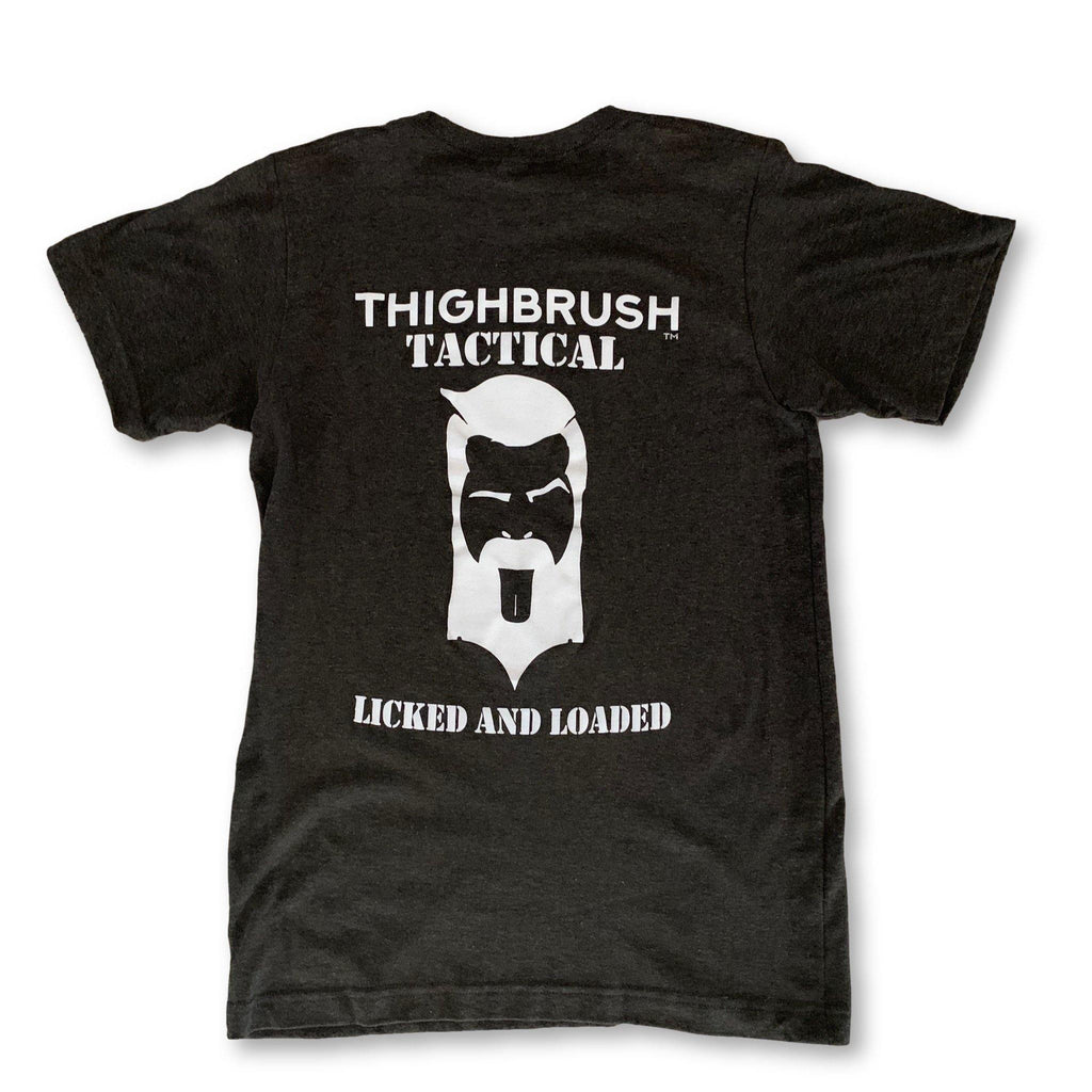 "THIGHBRUSH® TACTICAL - ""Licked and Loaded"" - Men's T-Shirt - Heather Black and White - thighbrush"